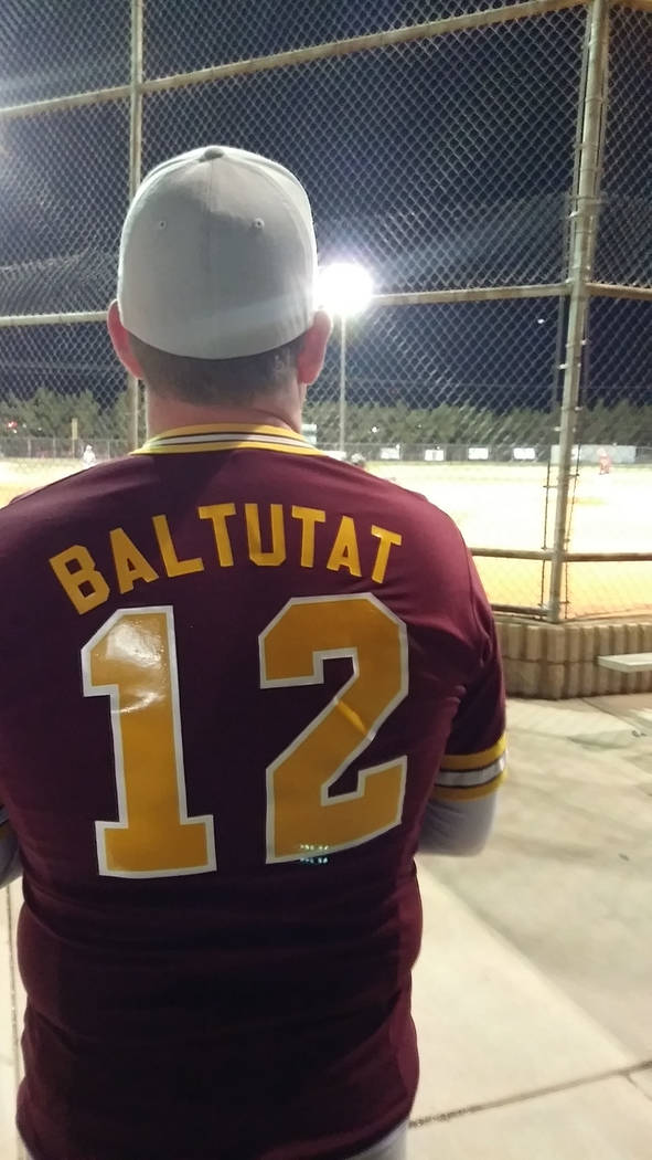 """Keith Baltutat, graduate of 1990 wearing his uniform from """"back in the day"""" at the Maroon and Gold Barbecue, which included a home run derby.  Charlotte Uyeno / Pahrump Valley Times"""