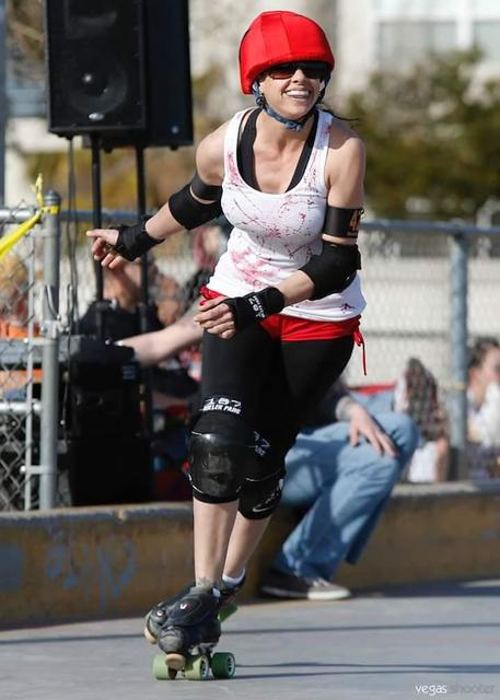 Jessica Henry wearing her protective gear, skates for the Fabulous Sin City Roller Girls in Las Vegas. Like McCoy, she was drawn to the physicality of the sport.  Special to the Pahrump Valley Times