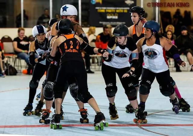 The Fabulous Sin City Roller Girls are seen getting it on in a match. The girls can be seen at West Flamingo Park at 6255 W. Flamingo Road in Las Vegas.  Special to the Pahrump Valley Times