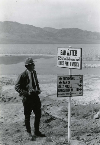 Displaying George A. Grant took this photo of Badwater in 1935. He documented Death Valley with photographs that can be compared to today's landscape.  Courtesy of the National Park Service