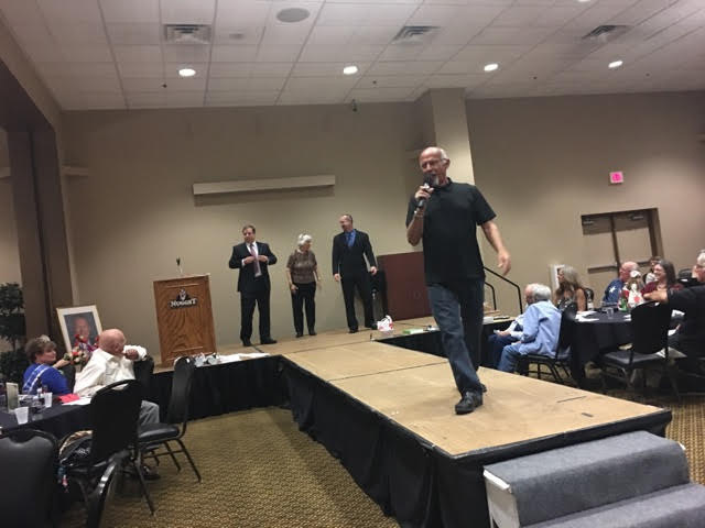 Special to the Pahrump Valley Times  Auctioneer Ski Censke works the crowd during the Nye County Celebrity Auction inside the Pahrump Nugget Events Center on Oct. 21. Approximately $10,000 was rai ...