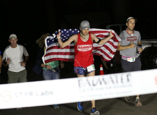 Trasie Phan Special to the Pahrump Valley Times Pete Kostelnick crosses the finish line as the number one runner in the 2016 Styr Labs Badwater 135. A race that takes runners through Death Valley  ...