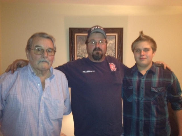 Special to the Pahrump Valley Times From left to right, Bobby Revert, James Revert and his son Robby, spending the day with grandpa.