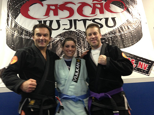 """From left to right, Walter """"Cascao"""" Vital, Ashlee Hernandez and Gabriel Hernandez at the grand opening of Cascao Jiu-Jitsu in Pahrump.  Special to the Pahrump Valley Times"""