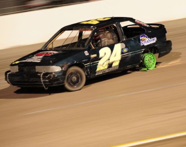 Special to the Pahrump Valley Times Robert Smotherman races his number four car, skid plate racer this year at the Bullring. He is undefeated in seven races.