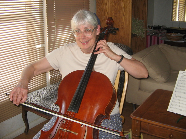 Brenda M. Klinger / Special to the Pahrump Valley Times   Long-time cellist Ruth Hogan has played in the pit orchestra for several high school musicals, and for various events with ensembles while ...