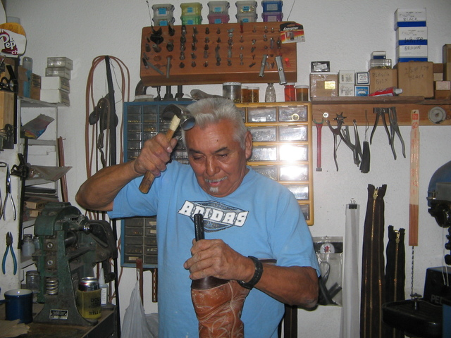 Brenda Klinger / Special to the Pahrump Valley Times   Pahrump shoe repairman Jose Valdez works on the heel of a  boot. He opened his shop, Valdez Shoe Repair, six and a-half years ago after comin ...
