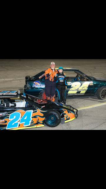 Special to the Pahrump Valley Times   Robert Smotherman (left) stands next to his son RJ Smotherman at the Bullring in Las Vegas. Robert Smotherman is this year's Skid Plate champion and RJ is t ...