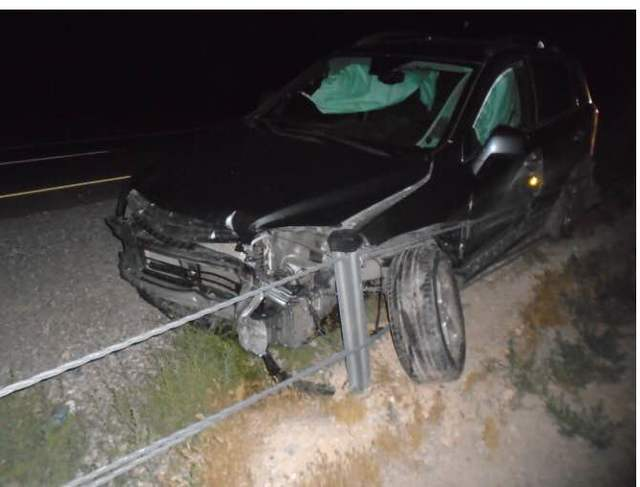 A unidentified woman crashed her Chevrolet SUV into the cable wires in the median of State Route 160 early Wednesday morning and fled the scene before Nevada Highway Patrol troopers arrived on the ...