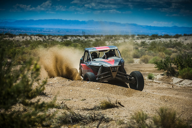 Jason Coleman speeds through the desert in his Jimco buggy. Coleman has ties to Pahrump as his aunt, Cary Jubinski, owns the Valley's Edge Feed store. Coleman hopes a win in this week's Pahrum ...