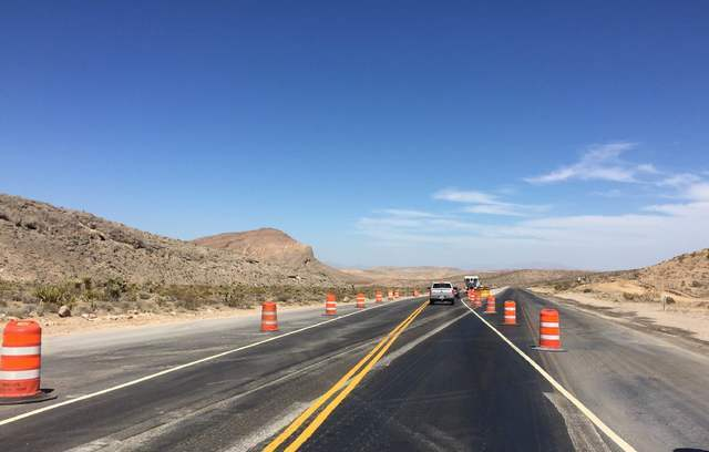 Traffic shifts onto a newly-paved portion of State Route 160 about midway through the work zone when heading south on the corridor linking Pahrump and Las Vegas. A five-mile stretch of road is bei ...