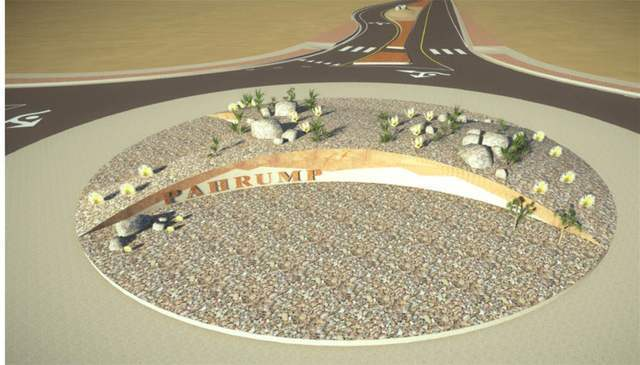 A rendering of the Blagg Road and Highway 372 roundabout, displays the landscaping and Pahrump sign that will welcome visitors to the valley.  Special to the Pahrump Valley Times