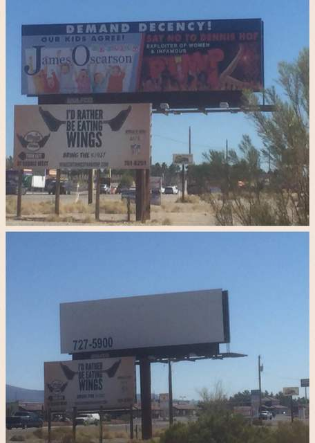 The split photo shows the James Oscarson billboard in question on Tuesday afternoon, top, and the same billboard on Wednesday morning. Opponent Dennis Hof claims that the image of his likeness is  ...