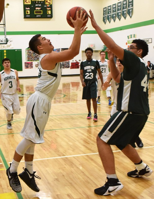 Jacob Oseguera posted the best game of his career as a Hornet, scoring 35 points and 10 rebounds in the Wednesday night playoff game against Word of Life.  Richard Stephens / Pahrump Valley Times