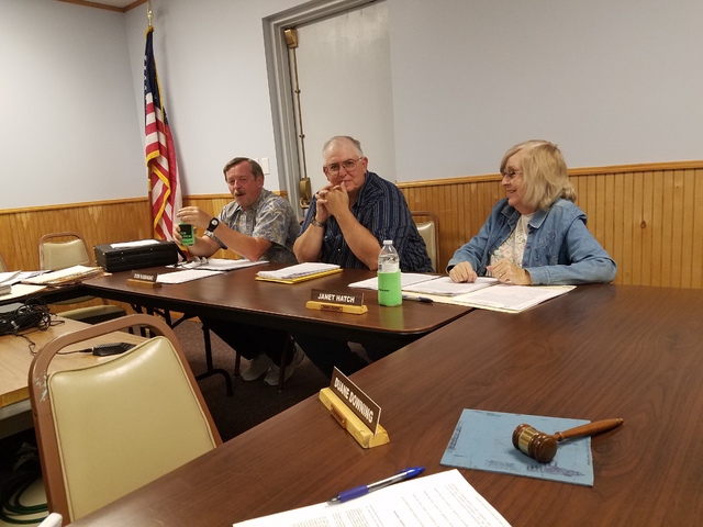 The town of Tonopah welcomed its newest Town Board member on Aug. 24.  Jerry Elliston (center) is a longtime employee at the Tonopah Test Range.  Elliston was selected from among five candidates b ...