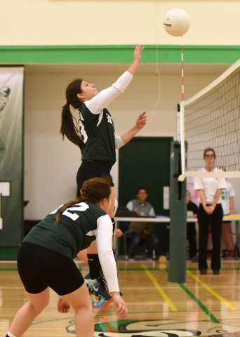 Richard Stephens / Pahrump Valley Times   Karina Villanueva gets a tip during the Green Valley Christian match in Beatty on Tuesday.