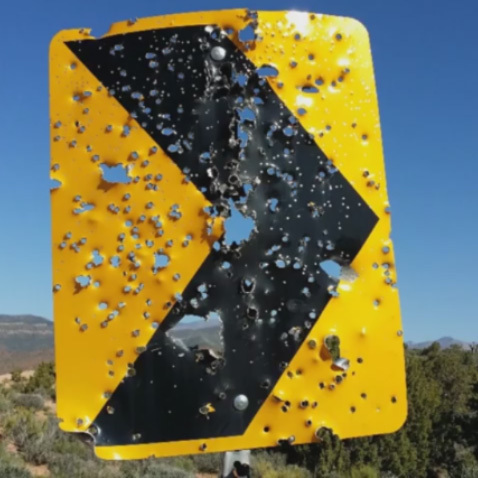 One reason for the temporary emergency one-year shooting closure just for Lovell Canyon off State Route 160 south of Pahrump is unlawful shooting of park signs.  Special to the Pahrump Valley Times.