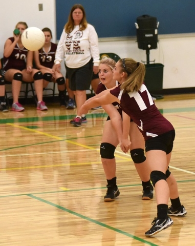 Richard Stephens / Pahrump Valley Times Junior varsity player Maddie Hansen going for the ball against the Hornets in Beatty.
