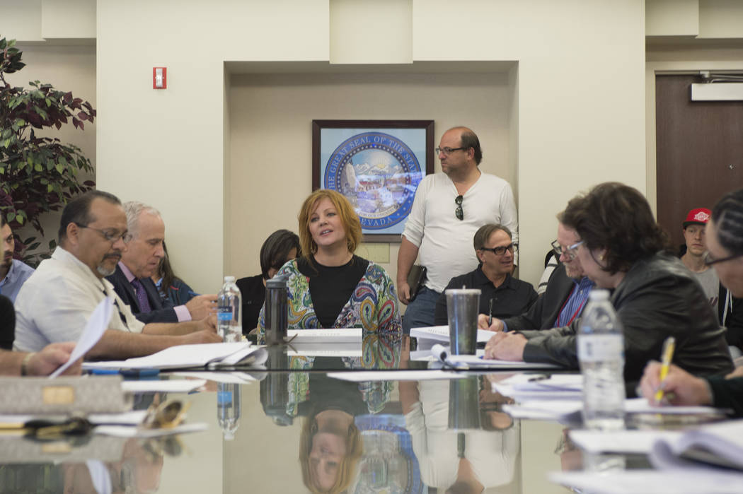 Mona Lisa Samuelson, a medical marijuana patient and advocate, gives a personal statement Friday during the first meeting of the state's 19-member Marijuana Task Force at the Grant Sawyer Office ...