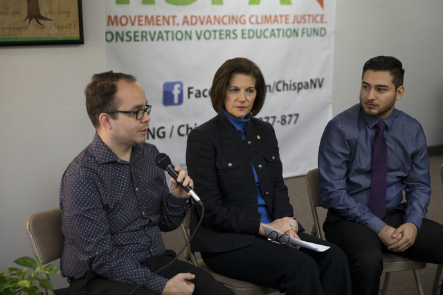 Rudy Zamora, from left, Chispa Nevada program director, U.S. Sen. Catherine Cortez Masto, D-Nev. and local resident Arturo Gonzales, participate in a panel discussion hosted by the League of Conse ...