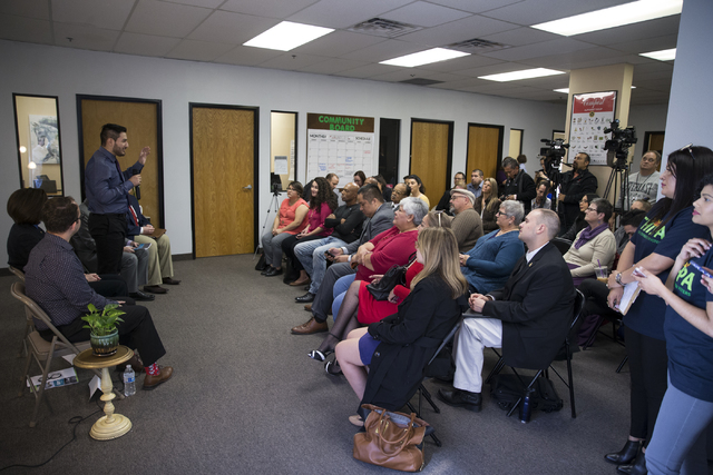Local resident Arturo Gonzales speaks during a panel discussion hosted by the League of Conservation Voters Chispa Nevada, Thursday, Feb. 23, 2017, in Las Vegas. The event was also attended by U.S ...