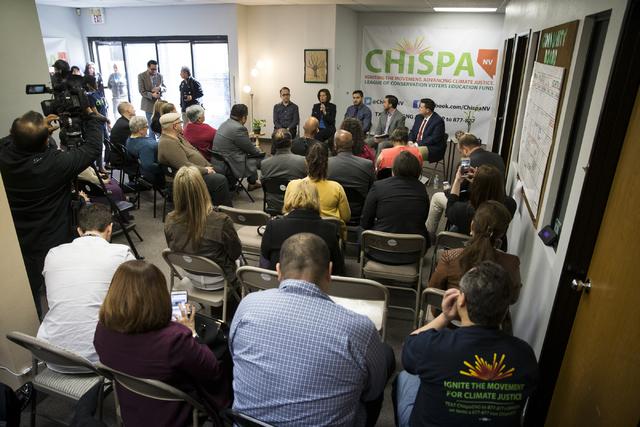 U.S. Sen. Catherine Cortez Masto, D-Nev., participates during a panel discussion event hosted by the League of Conservation Voters Chispa Nevada, Thursday, Feb. 23, 2017, in Las Vegas. (Erik Verdu ...