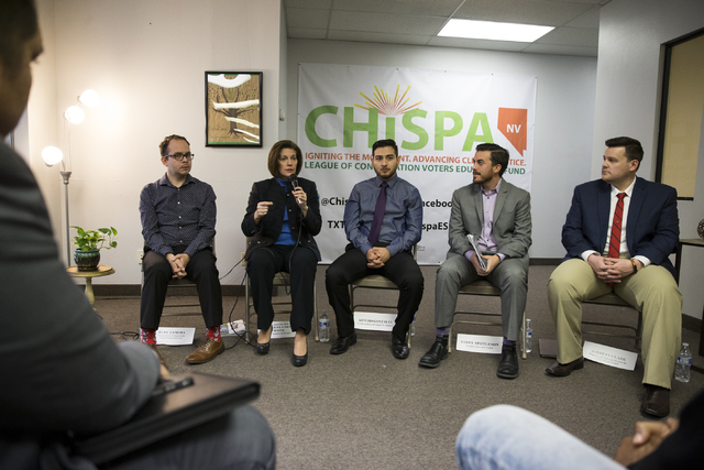 U.S. Sen. Catherine Cortez Masto, D-Nev., speaks during a panel discussion event hosted by the League of Conservation Voters Chispa Nevada, Thursday, Feb. 23, 2017, in Las Vegas. (Erik Verduzco/La ...