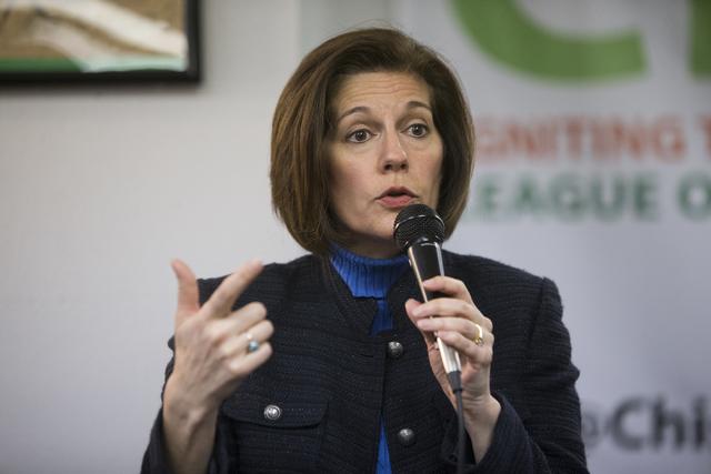U.S. Sen. Catherine Cortez Masto, D-Nev., speaks during a panel discussion event hosted by the League of Conservation Voters Chispa Nevada, Thursday, Feb. 23, 2017, in Las Vegas. (Erik Verduzco/La ...