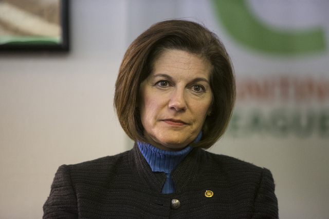 U.S. Sen. Catherine Cortez Masto, D-Nev., during a panel discussion event hosted by the League of Conservation Voters Chispa Nevada, Thursday, Feb. 23, 2017, in Las Vegas. (Erik Verduzco/Las Vegas ...