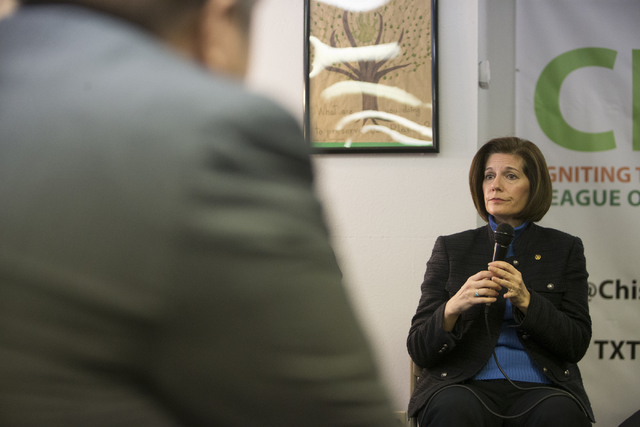U.S. Sen. Catherine Cortez Masto, D-Nev., during a panel discussion event hosted by the League of Conservation Voters Chispa Nevada, Thursday, Feb. 23, 2017, in Las Vegas. (Erik Verduzco/Las Vegas ...