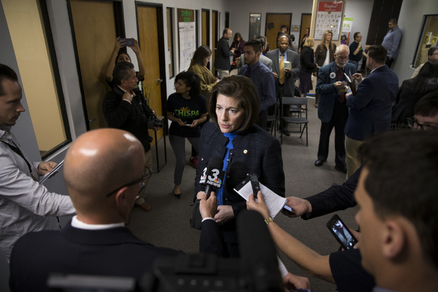 U.S. Sen. Catherine Cortez Masto, D-Nev., is interviewed after participating in a panel discussion event hosted by the League of Conservation Voters Chispa Nevada, Thursday, Feb. 23, 2017, in Las  ...