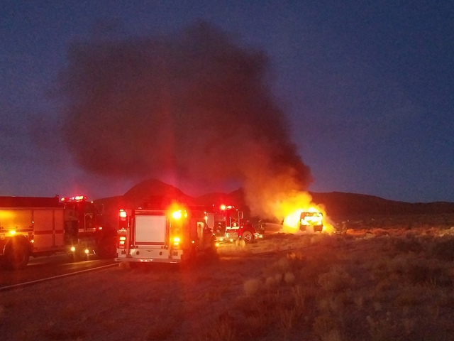 A motorhome burned in a fire Monday night along U.S. Highway 6 about 20 miles east of Tonopah, blocking traffic at Salisbury Peak. The 40-foot motor home is a total loss.   David Jacobs/Times-Bona ...