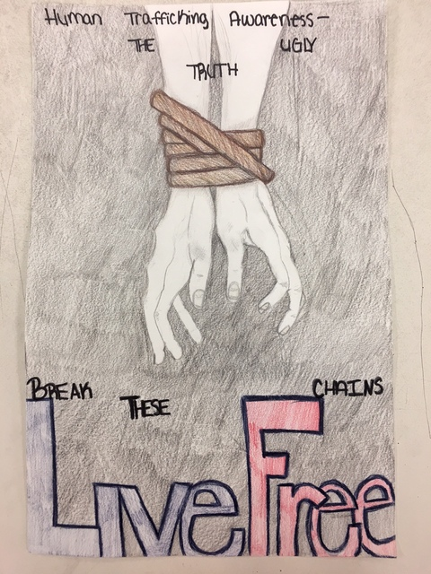Special to the Pahrump Valley Times Art depicting hands in chains was done by sophomore Pahrump Valley art student Lainey Dattillo, who won first place in her category and had her art displayed at ...