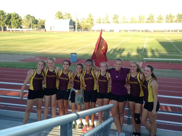 Special to the Pahrump Valley Times Trojans girls cross-country team celebrates after winning first meet in about 4 years.