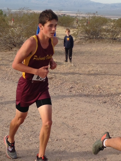 Special to the Pahrump Valley Times Michael Sonerholm runs at the Lake Mead Invitational on Oct. 8 at Veterans Memorial Park in Boulder City. He finished in 15th place at the divisional meet last  ...