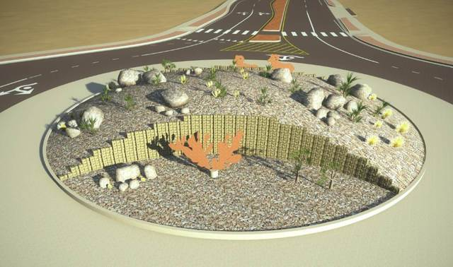 A rendering of the Pahrump Valley Boulevard and Highway 372 roundabout, which displays the landscaping of the future road addition.   Special to the Pahrump Valley Times