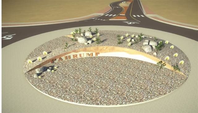 A rendering of the Blagg Road and Highway 372 roundabout, which displays the landscaping and Pahrump signage that will welcome visitors to the valley.  Special to the Pahrump Valley Times
