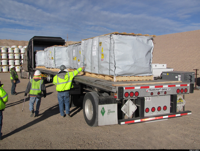Special to the Pahrump Valley Times  Officials conduct mixed low-level waste inspection prior to disposal at the Nevada National Security Site (NNSS). Per state of Nevada's requirements, the Depar ...