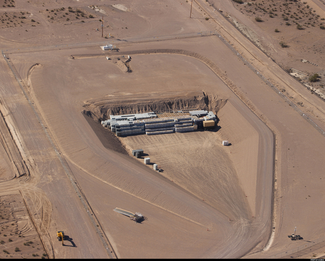 Special to the Pahrump Valley Times  Mixed low-level waste disposal cell at the Nevada National Security Site Area 5 Radioactive Waste Management Complex. The cell is going to reach its capacity m ...