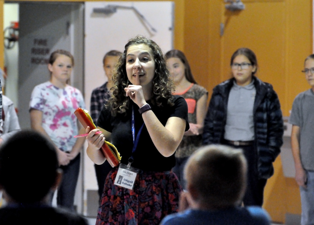 "Director Abby Kohake talks to children during the auditions for the Missoula Children's Theatre's production of ""Alice in Wonderland"" at NyE Communities Coalition activity center on Monday. The sh ..."