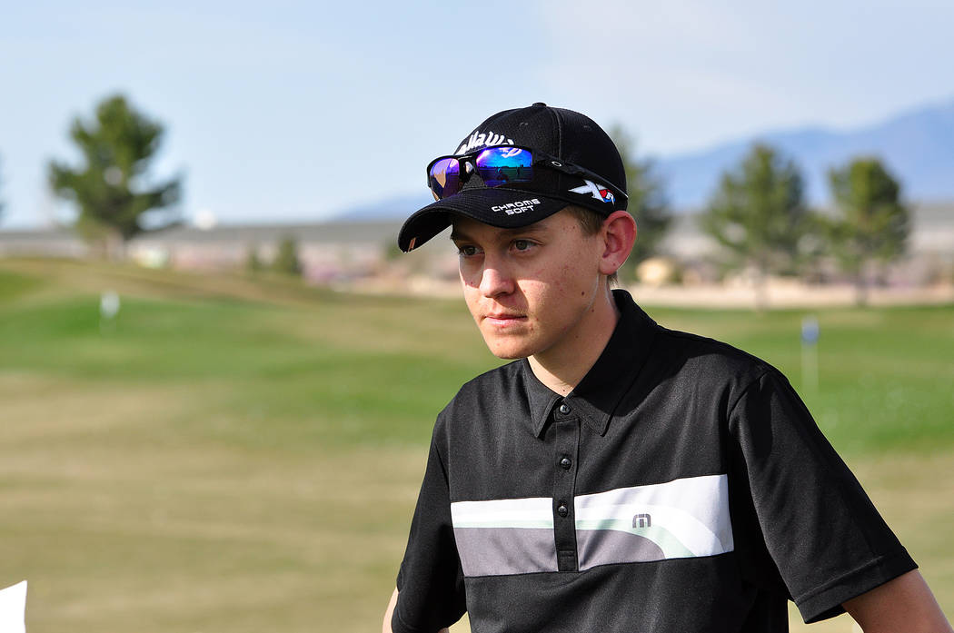 Trojans senior golfer Austen Ancell will be going for his second state individual title this year.  Horace Langford Jr / Pahrump Valley Times