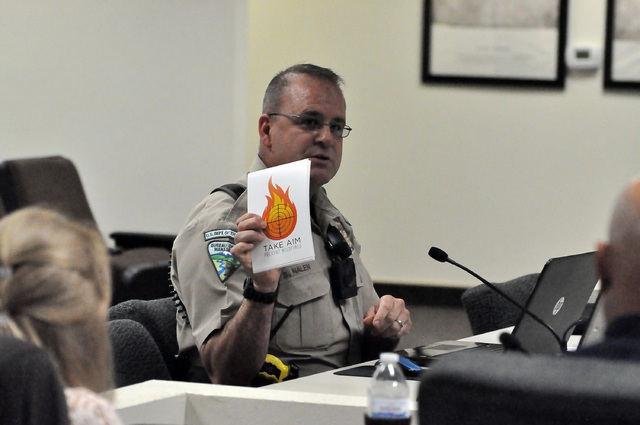 Horace Langford Jr. / Pahrump Valley Times  Shane Nalen, supervisory ranger at the BLM's Southern Nevada District speaks during the Mojave-Southern Great Basin Resource Advisory Council meeting  ...