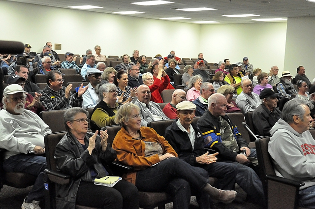 Members of the public attended Nye County Commission meeting where commissioners decided to carry forward the county submitted bill seeking to abolish the Nye County Water District Governing Board ...