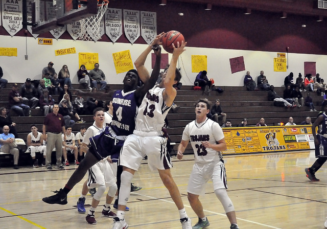 Cory Bergan tries to take the ball to the hoop. Sunrise Mountain did a good job of keeping Pahrump out of the paint.  Horace Langford Jr. / Pahrump Valley Times