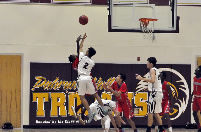 Horace Langford Jr. / Pahrump Valley Times  Antonio Fortin is seen against Western. He played a big role in helping the Trojans beat Western on Tuesday night by posting 14 points.