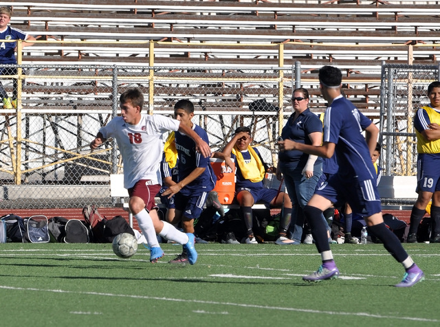 Horace Langford Jr. / Pahrump Valley Times  Paul Holmes sprints toward the goal, on his way to scoring the winning point against Cheyenne on Thursday. It was the first league win of the season for ...