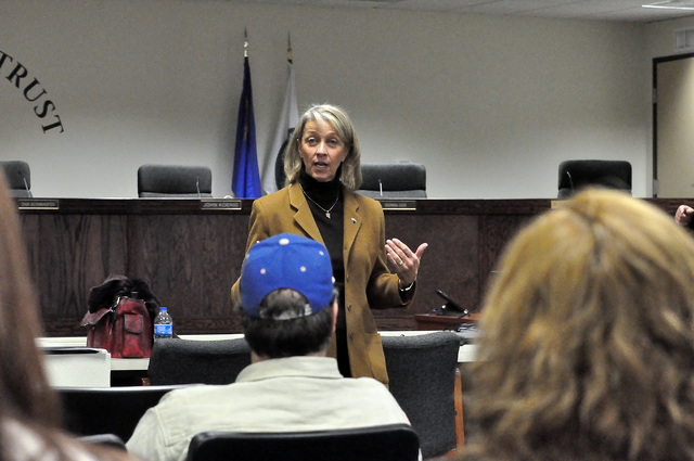 Horace Langford Jr. / Pahrump Valley Times - Nevada Secretary of State Barbara Cegavske answering questions from the audience during her visit to Pahrump.