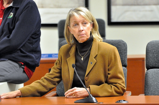 Horace Langford Jr. / Pahrump Valley Times - Nevada Secretary of State Barbara Cegavske takes a conference call from Sam Merlino in Tonopah during her visit to Pahrump on Friday, Jan. 20. Cegavske ...