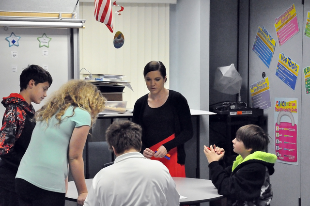 McKenzie Dean teaching her sixth grade math class at Rosemary Clarke Middle School. Dean was an 8-time state champion for Pahrump Valley High School.  Horace Langford Jr. / Pahrump Valley Times