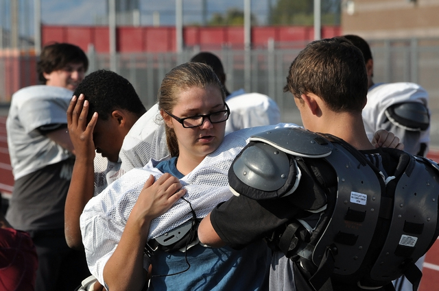Horace Langford Jr / Pahrump Valley Times - PVHS Footbal, training camp, Female Freshman.